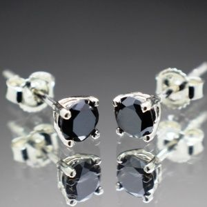 Silver REAL Natural Black Diamond Stud Ear…